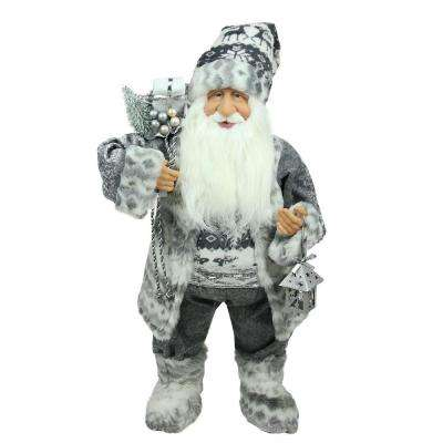 24 in. Alpine Chic Standing Santa Claus in Gray and White with a Bag and Lantern Christmas Figure