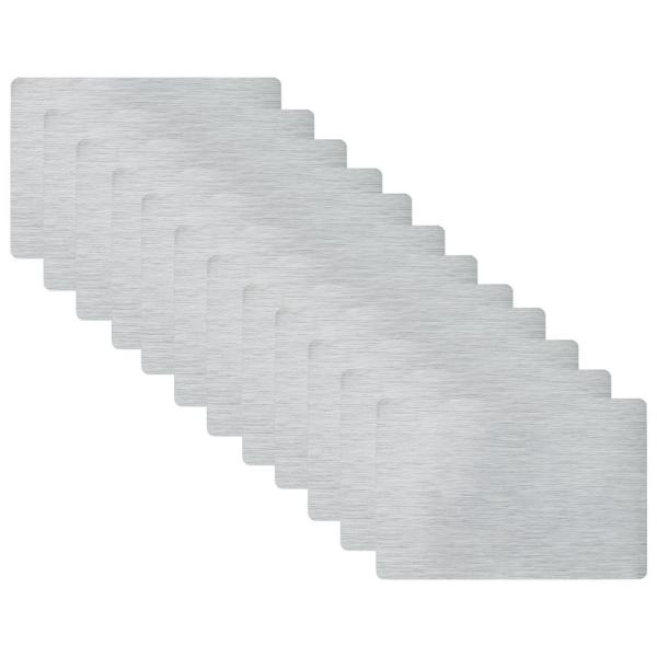 19 in. x 13 in. Nickel Metallic Stitched PVC Placemats (Set of 12)