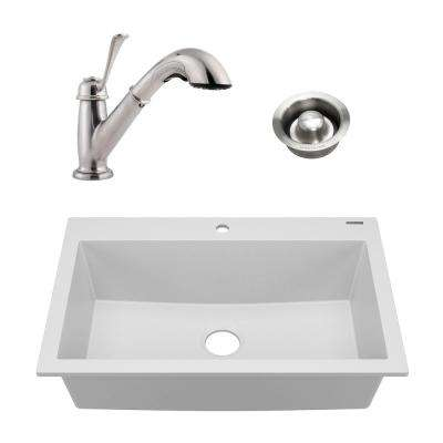 Camille All-in-One Drop-In Granite Composite 33 in. 1-Hole Single Bowl Kitchen Sink with Faucet and Drain in Matte White