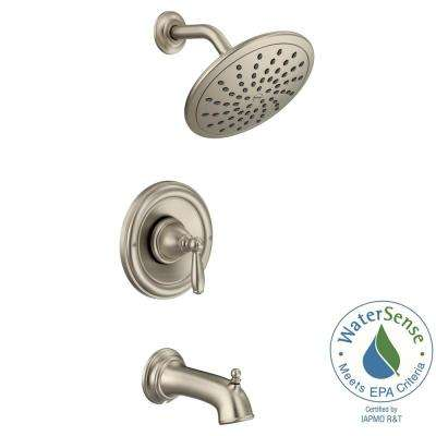 Brantford Posi-Temp Rainshower 1-Handle Tub and Shower Faucet Trim Kit in Brushed Nickel (Valve Not Included)