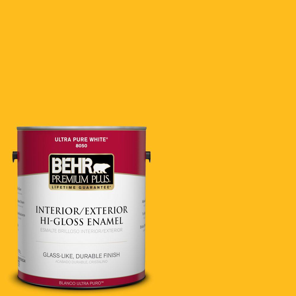 BEHR Premium Plus 1-gal. #P290-7 Laser Lemon Hi-Gloss Enamel Interior/Exterior Paint