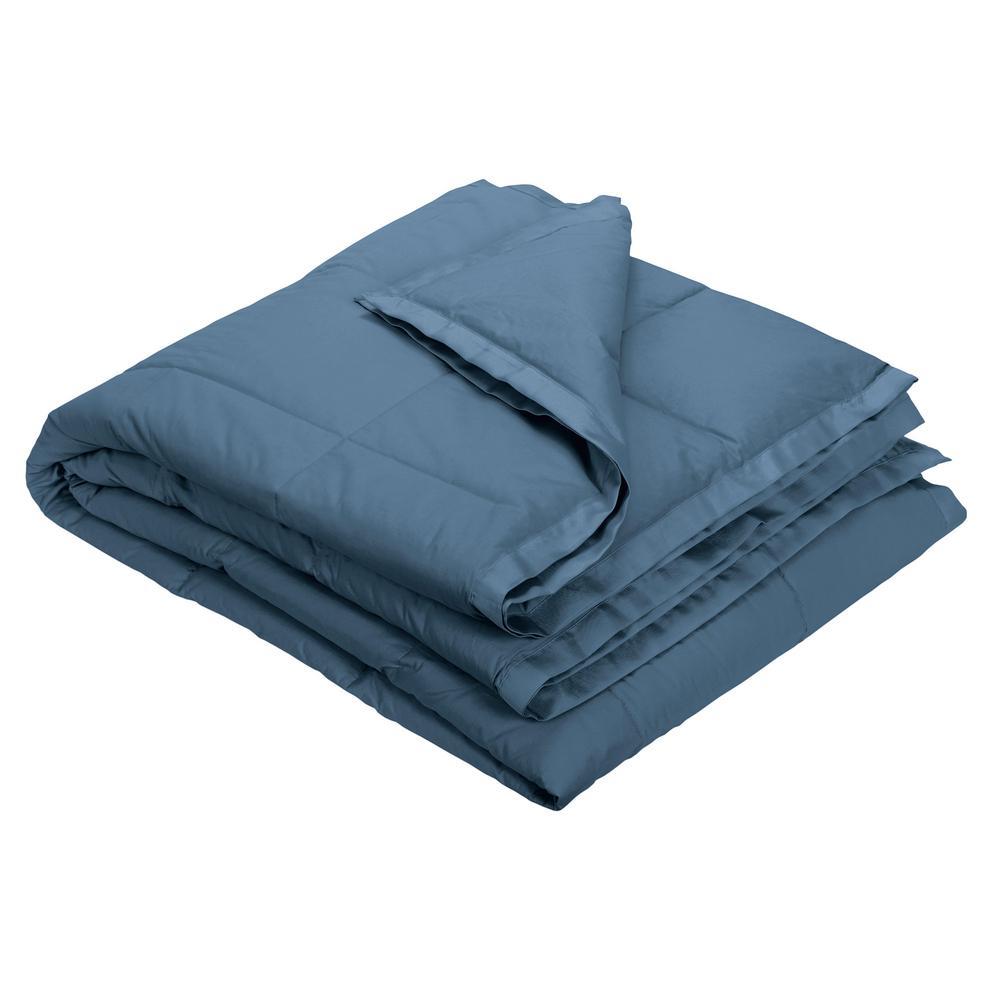 The Company Store LaCrosse LoftAIRE Smoke Blue Twin Blanket KO80-T-SMK-BLUE