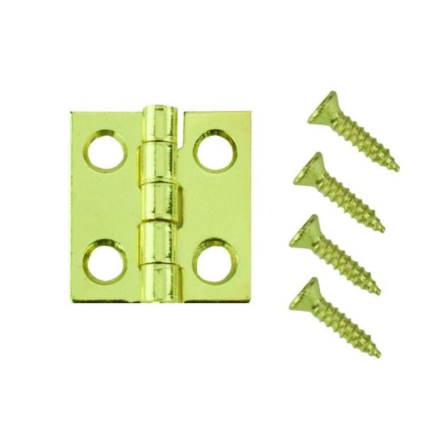 3/4 in. x 11/16 in. Bright Brass Middle Hinges