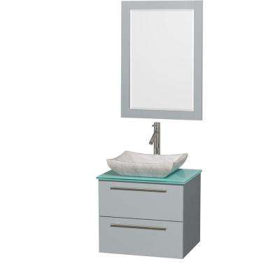 Amare 24 in. W x 19.5 in. D Vanity in Dove Gray with Glass Vanity Top in Green with White Basin and 24 in. Mirror