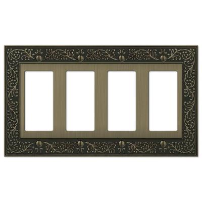 English Garden 4 Gang Rocker Metal Wall Plate - Brushed Brass