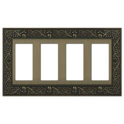 English Garden 4-Gang Decora Wall Plate - Brushed Brass