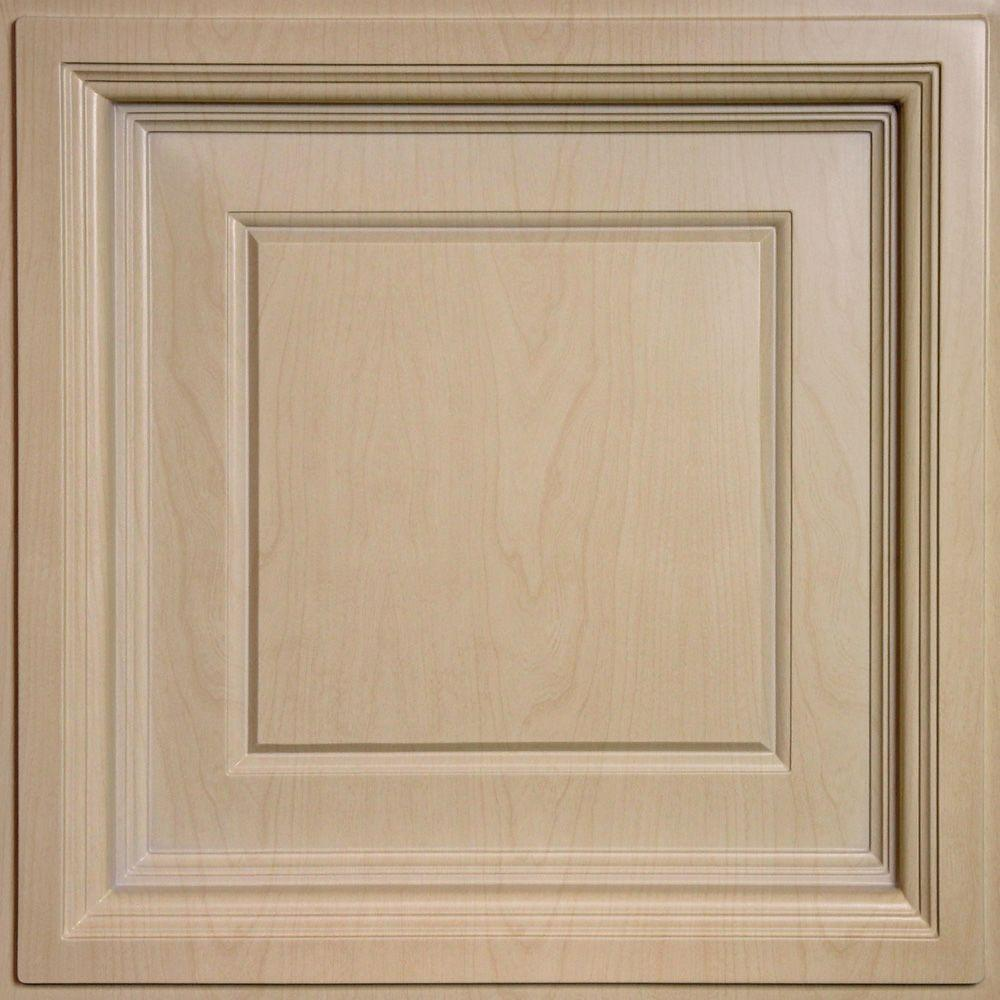 Brown drop ceiling tiles ceiling tiles the home depot madison faux wood sandal 2 ft x 2 ft lay in coffered dailygadgetfo Choice Image