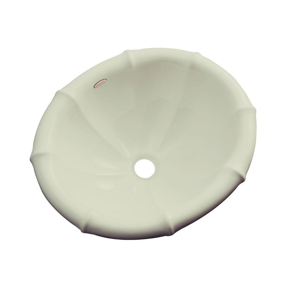 Sea Palm Drop-In Bathroom Sink in Jersey Cream
