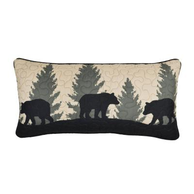 Bear Walk Plaid Beige, Black, Green Polyester 11 in. x 22 in. Rectangular Throw Pillow