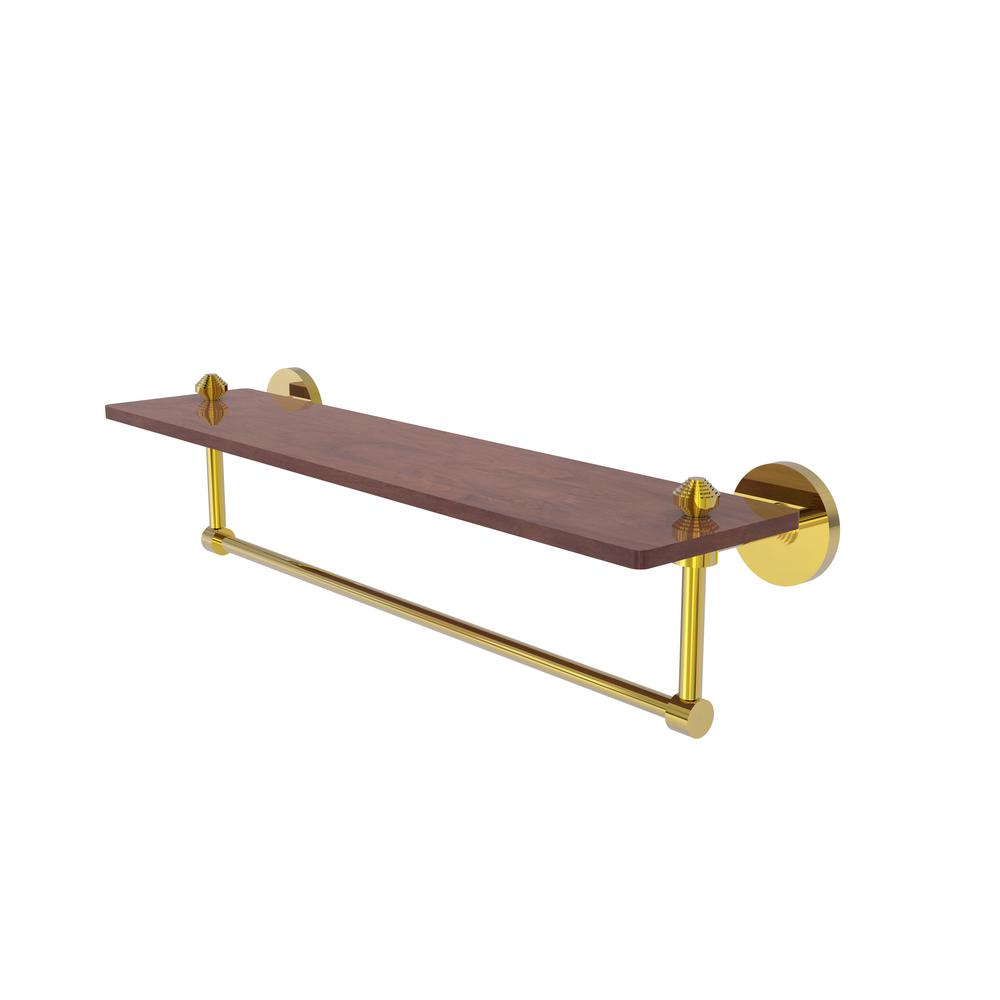 Allied Brass South Beach Collection 22 in. Solid IPE Ironwood Shelf with Integrated Towel Bar in Polished Brass