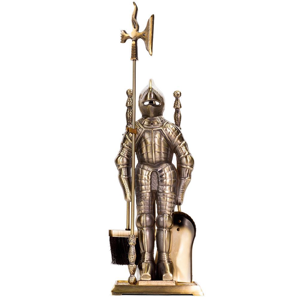 4-Piece Medieval Knight Style Poker Brush Shovel Fireplace Tool Set