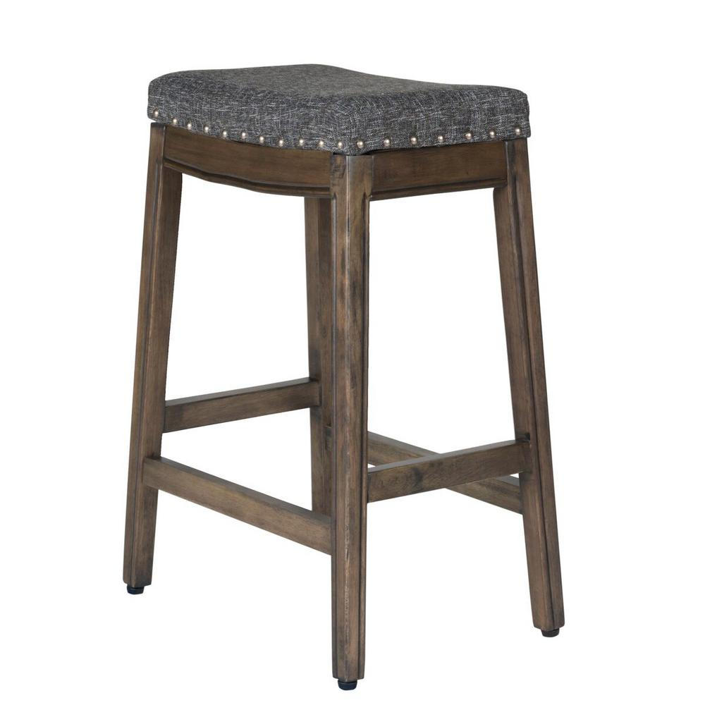 Homepop Blake Backless 24 In Gray Bar Stool K7446 F2182 The Home
