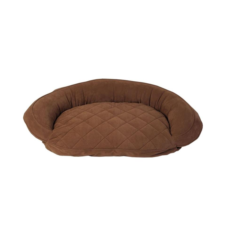 Carolina Pet Company Large Chocolate Microfiber Quilted Bolster Bed with Moister Protection The ultimate in comfort and luxury for your pet. The Microfiber Quilted Bolster Bed features a plush diamond-quilted fabric. The high loft recycled polyester fill keeps your furry friend healthy and happy by relieving pressure on hips and joints.