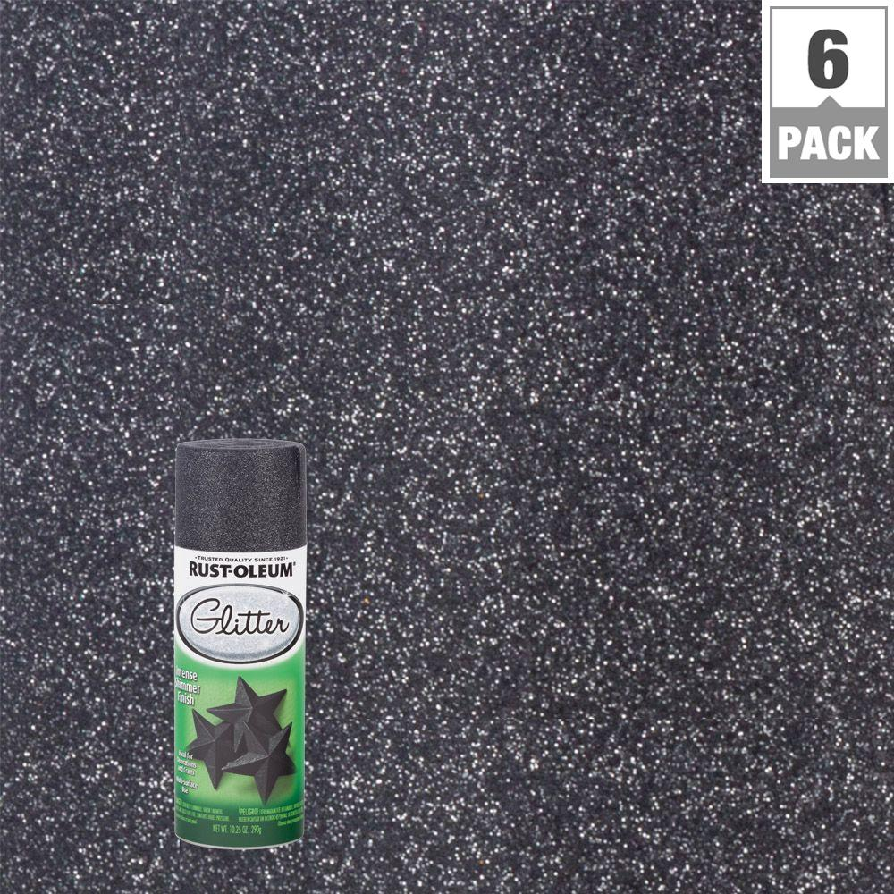 10.25 oz. Midnight Black Glitter Spray Paint (6-Pack)
