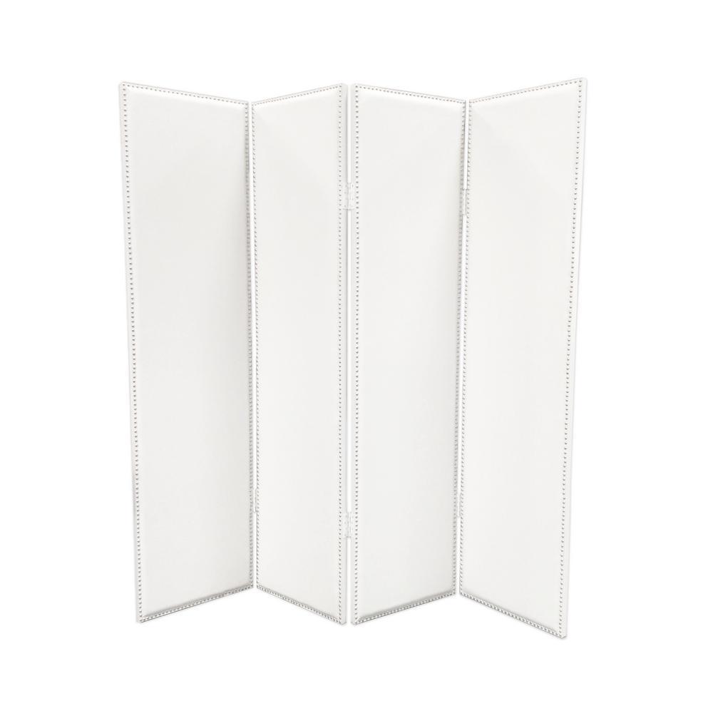 MILANO 7 ft. White 4-Panel Room Divider