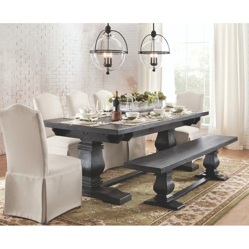 Home Decorators Collection Aldridge Washed Black Wood Dining Bench