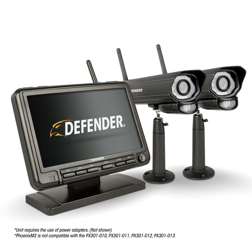 Defender PHOENIXM2 Digital Wireless 7 in. Monitor DVR Security System with 2 Night Vision Cameras and SD Card Recording