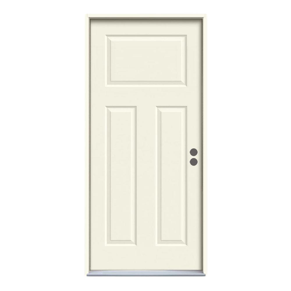 JELD-WEN 36 in. x 80 in. 3-Panel Craftsman Primed Steel Prehung Left-Hand Inswing Front Door w/Brickmould