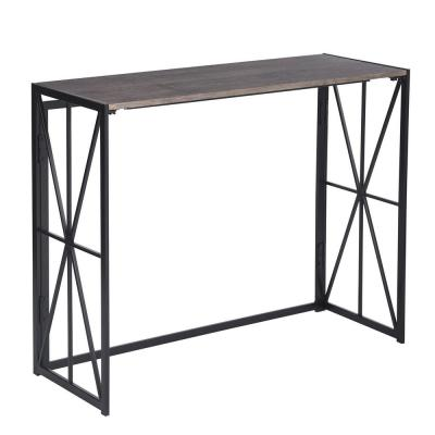 Folding Console Table 39.4in Long Writing Desk Sofa Table, Brown