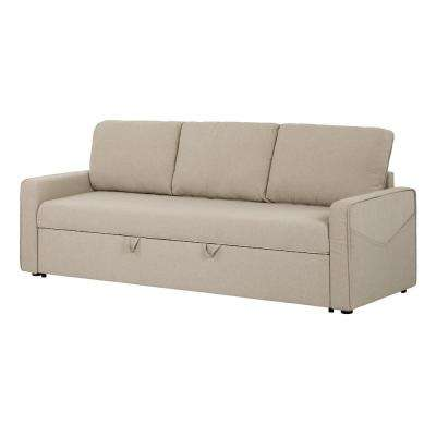 Live It Cozy 3 Seat Oatmeal Beige Sofa Bed