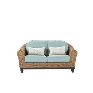 Camden Light Brown Seagrass Wicker Outdoor Patio Loveseat with Sunbrella Sunbrella Cast Spa & Fretwork Mist Cushions