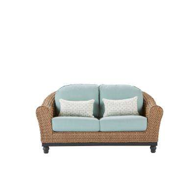 Camden Light Brown Wicker Outdoor Loveseat With Sunbrella Canvas Spa Cushions