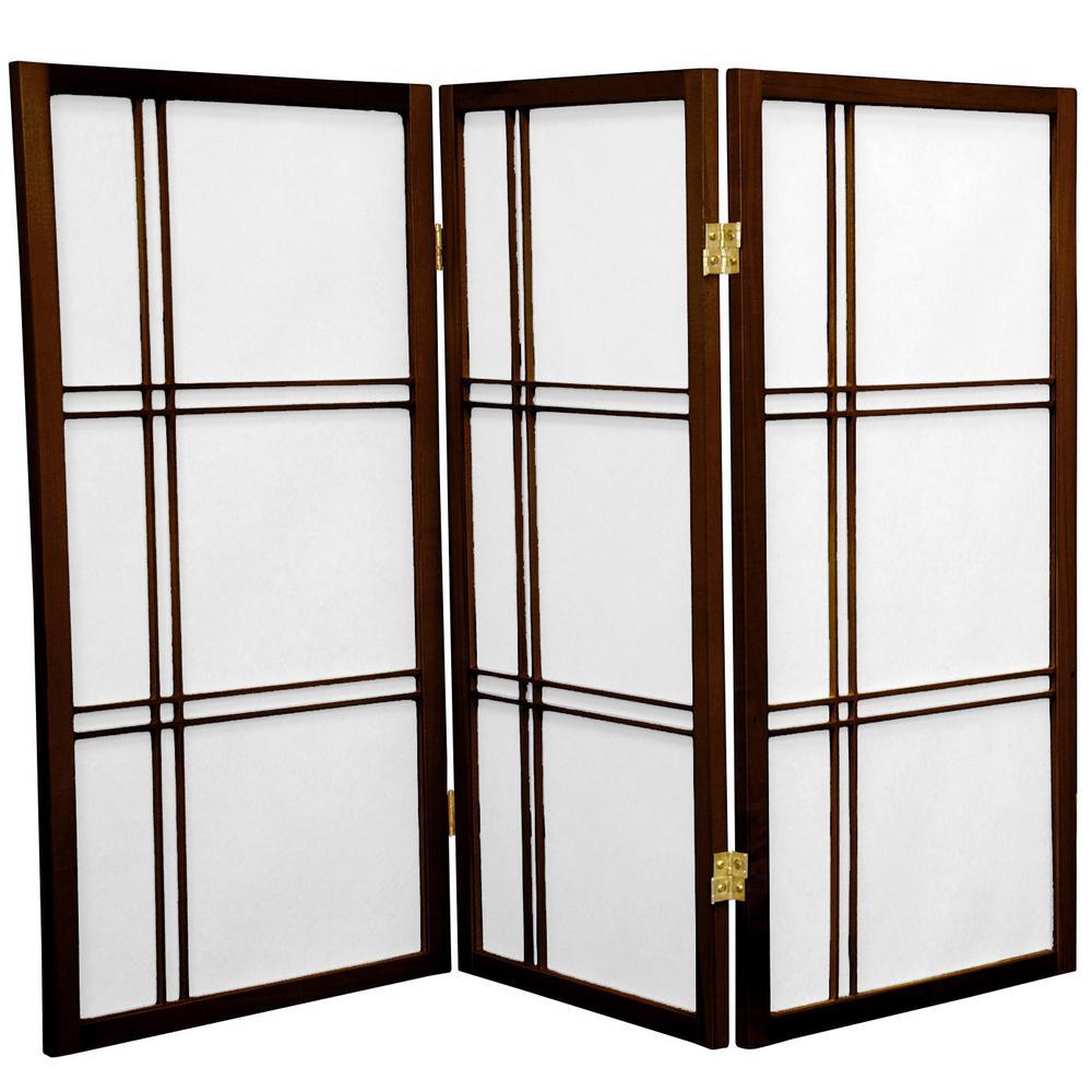 3 ft. Walnut 3-Panel Room Divider