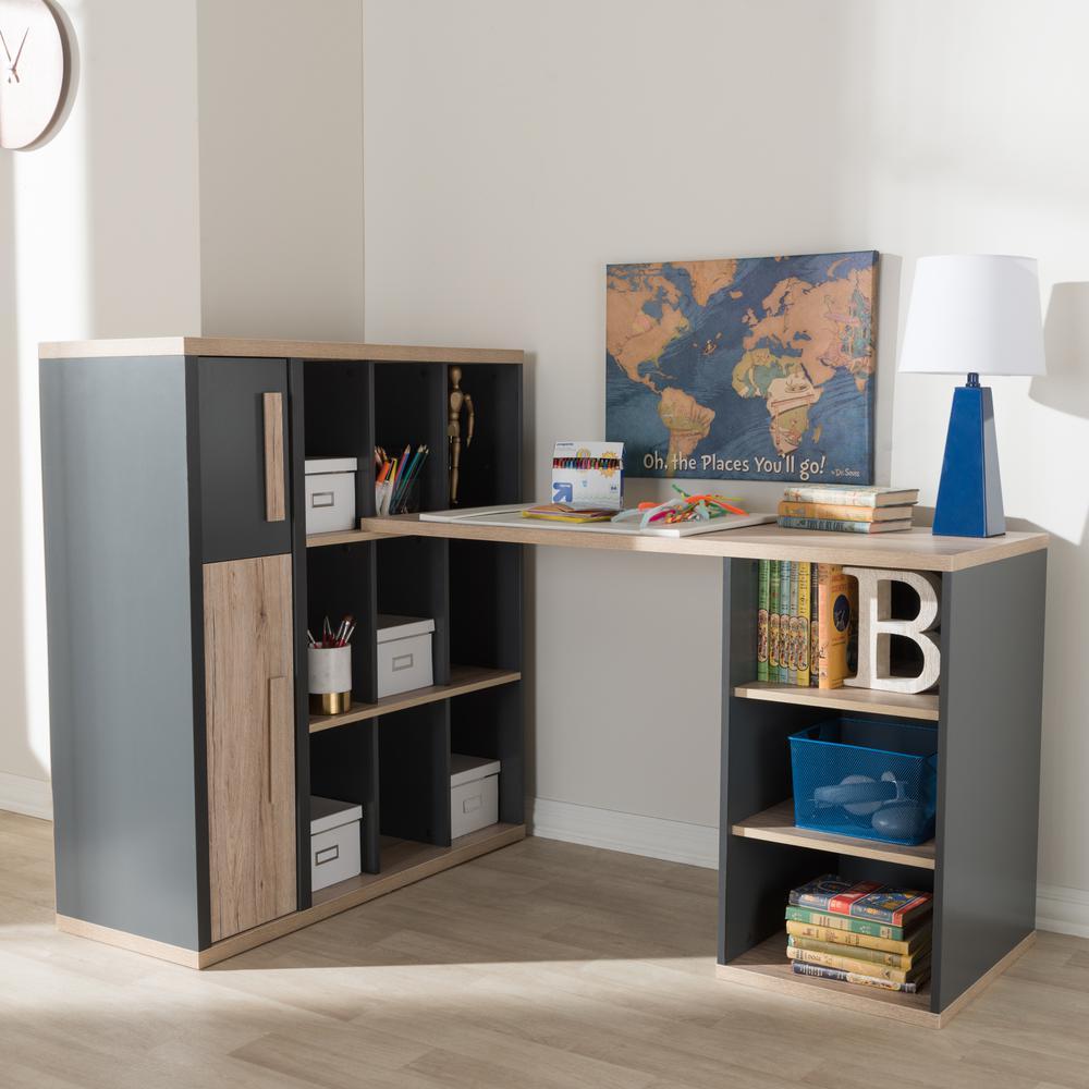 7ccf6a18d Baxton Studio Pandora Dark Gray Desk 28862-7965-HD - The Home Depot