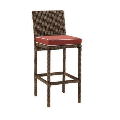 Bradenton Wicker Outdoor Bar Stool with Sangria Cushions (2-Pack)