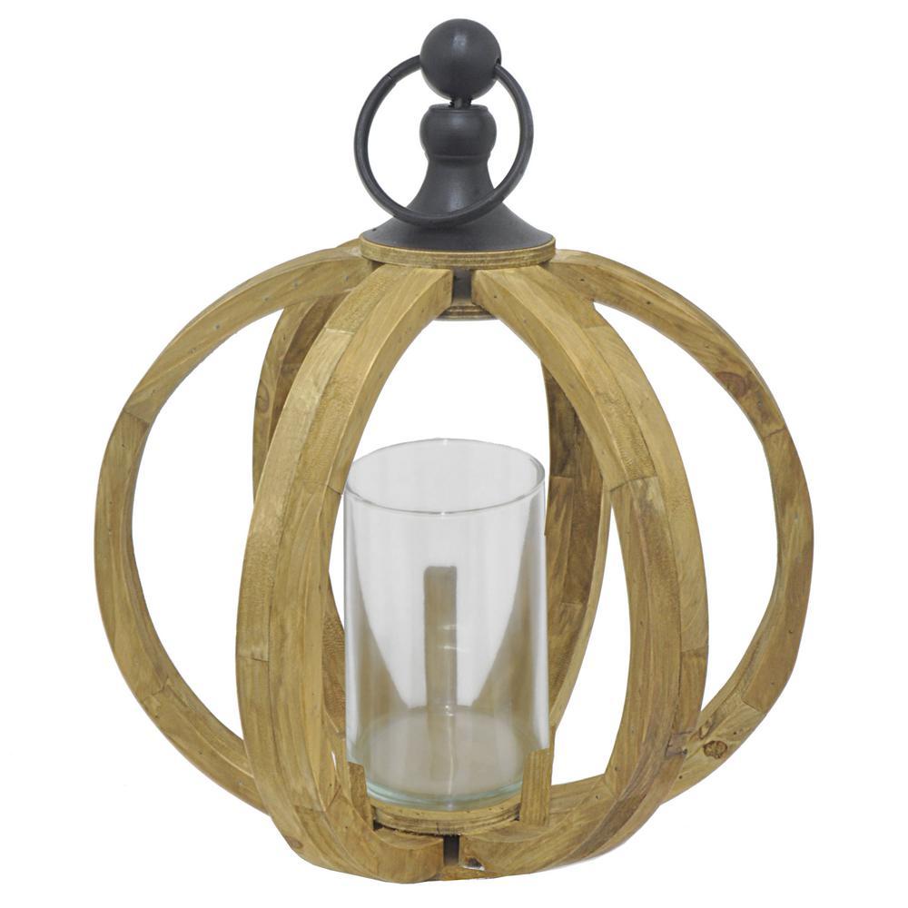 Wood Lantern with Glass