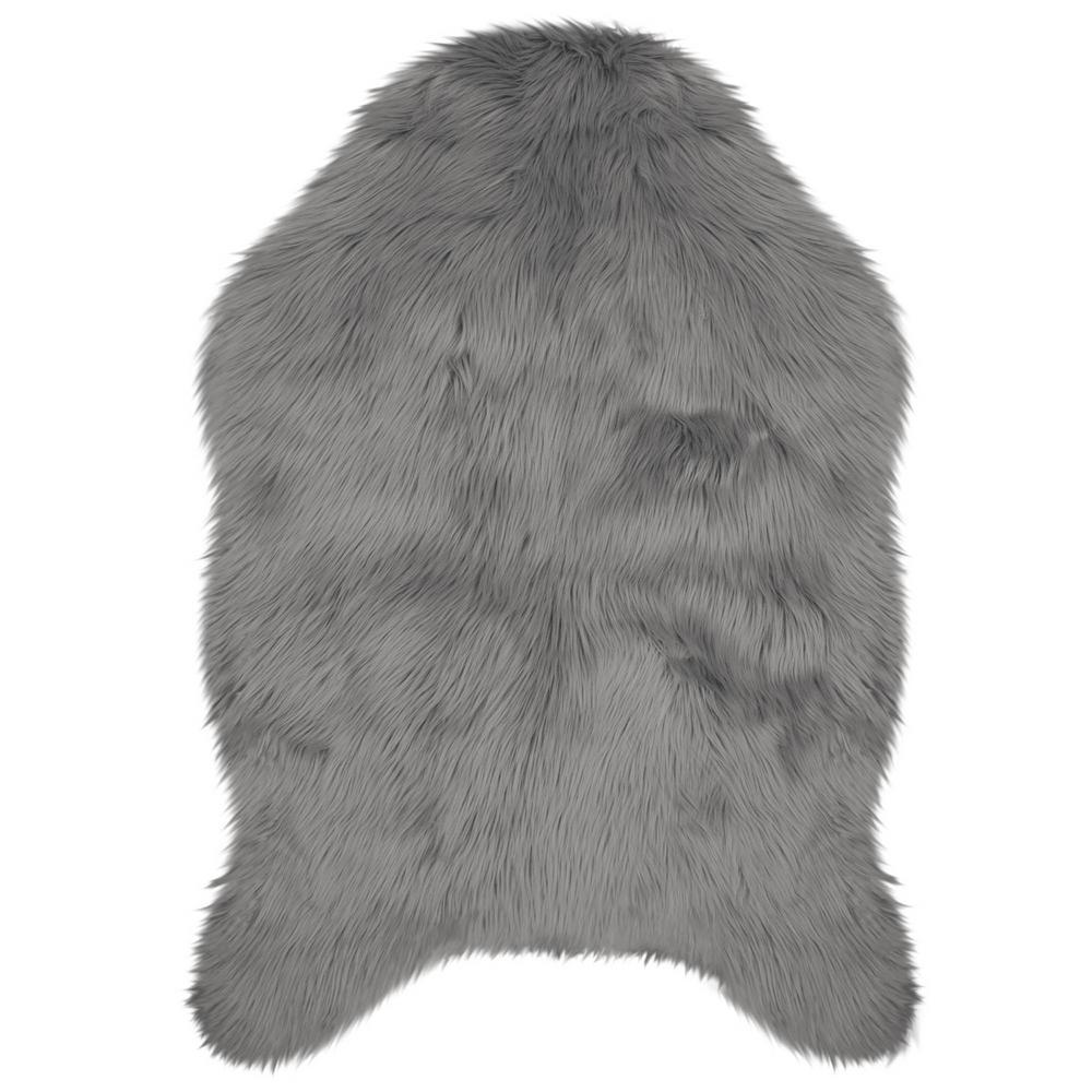 Jean Pierre Faux-Fur Dark Grey 4 Ft. X 2 Ft. 4 In. Area