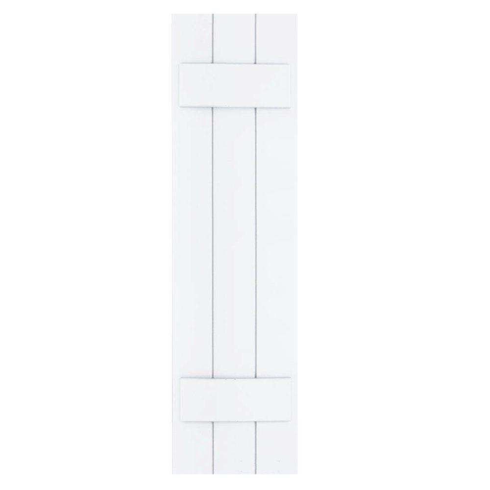 Winworks Wood Composite 12 in. x 44 in. Board & Batten Shutters Pair #631 White