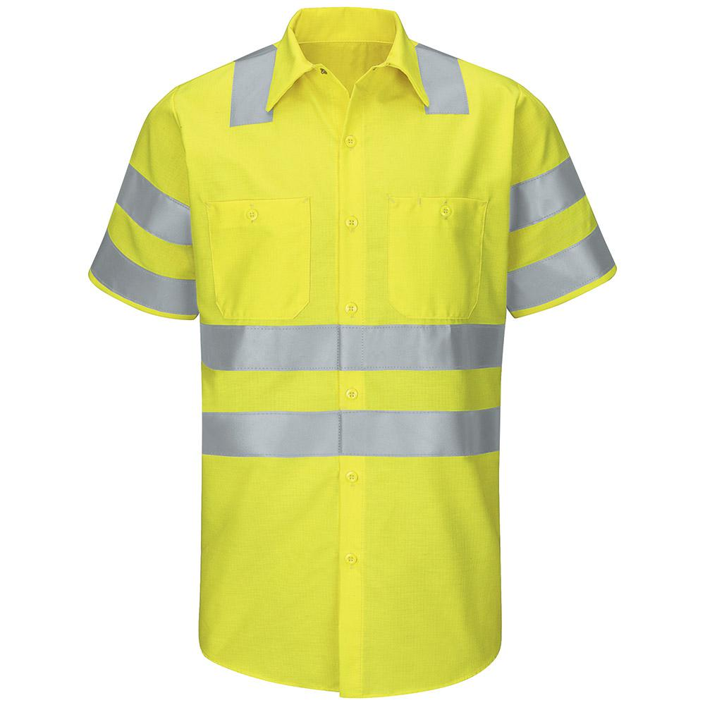 Fluorescent Yellow/Green Red Kap Mens Enhanced Visibility Short Sleeve Ripstop Work Shirt Large