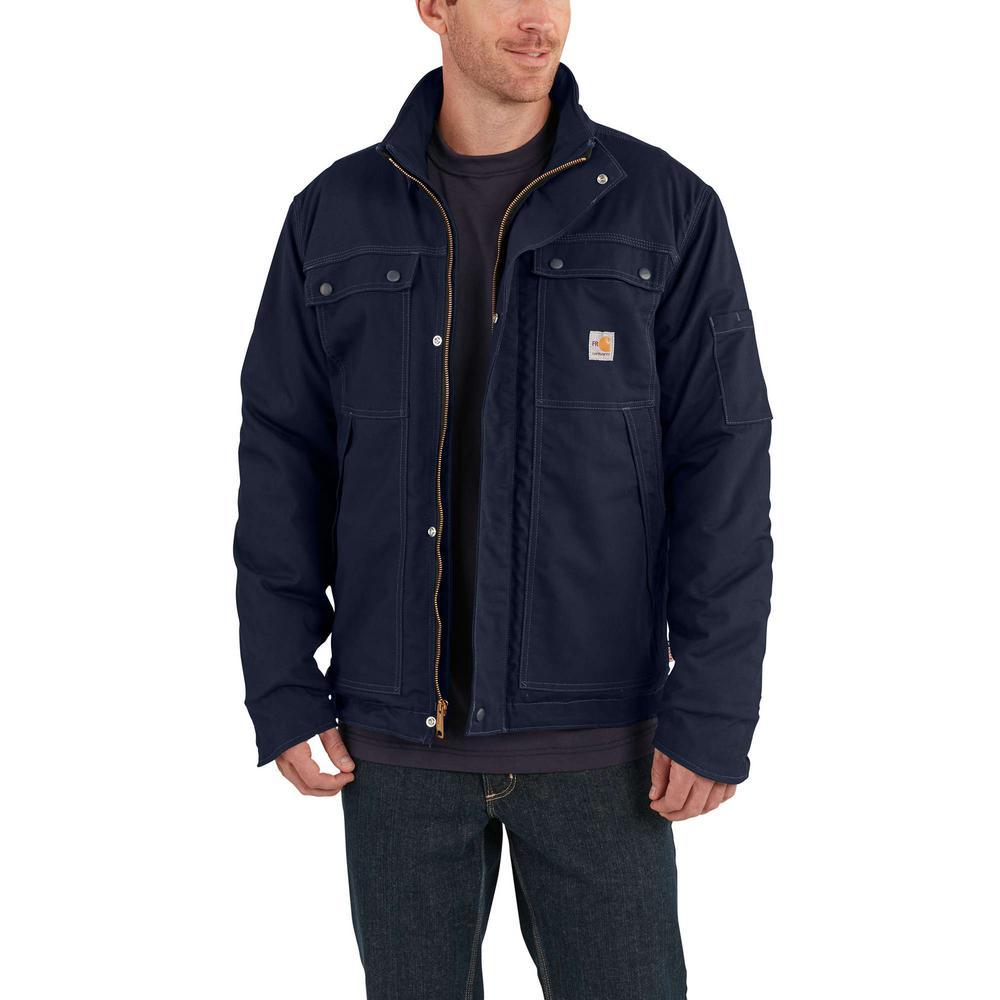 Men's Large Tall Dark Navy Cotton/Nylon FR Full Swing Quick Duck Coat