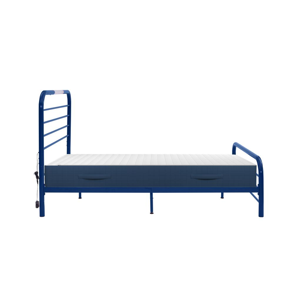 Timothy Full Size Complete Bed with Task Lighting in Royal Blue