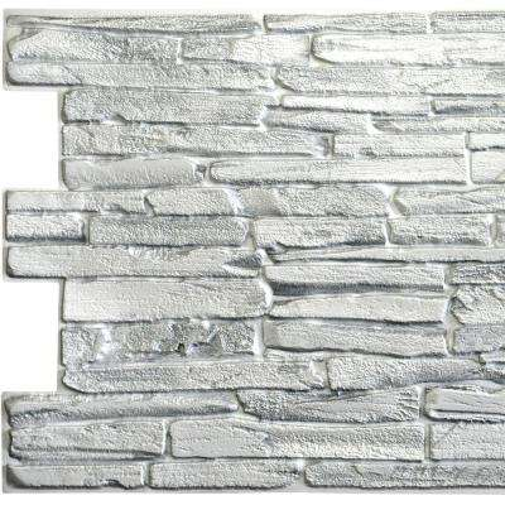 3D Falkirk Retro 10/1000 in. x 39 in. x 20 in. White Faux Flagstone PVC Wall Panel