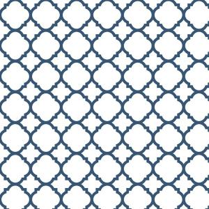 18 in. Navy Quatrefoil Adhesive Shelf Liner