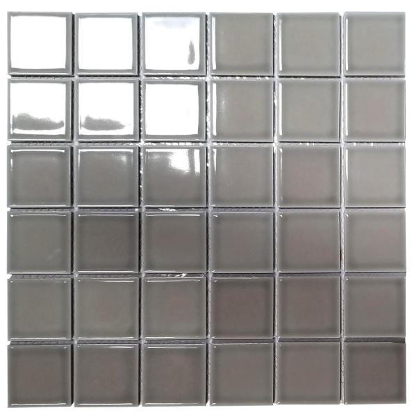 ABOLOS Mosaic 2 in. x 2 in. Square Gray Porcelain Peel