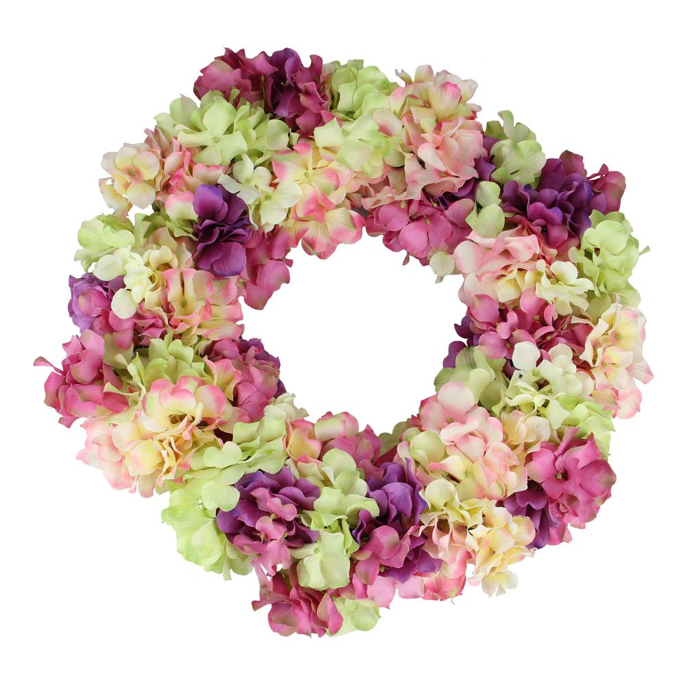 Northlight 18 in. Pink and Purple Hydrangea Springtime Floral Wreath