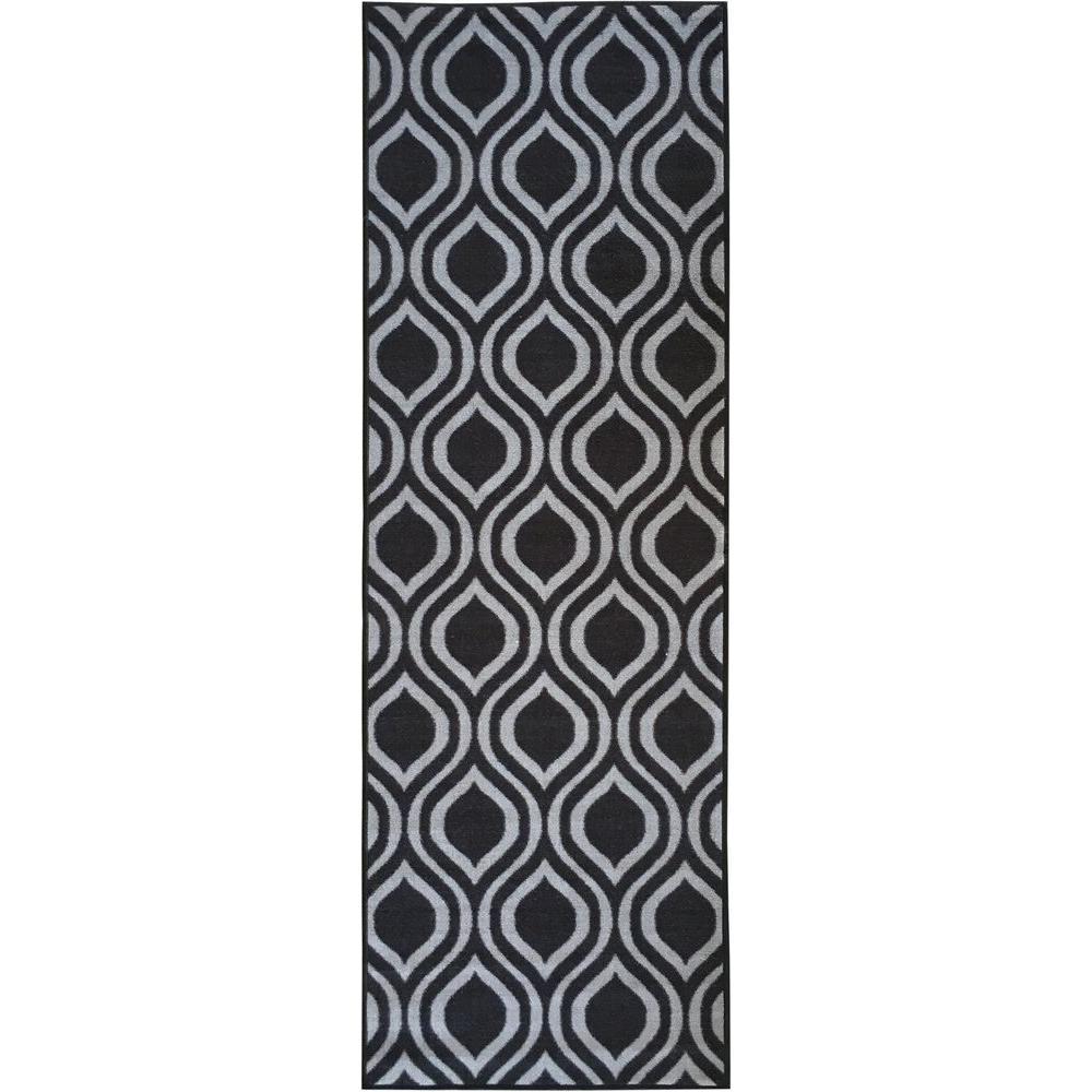 Rose Collection Contemporary Moroccan Trellis Design Dark Grey 2 ft. x 7 ft. Non-Skid Runner Rug