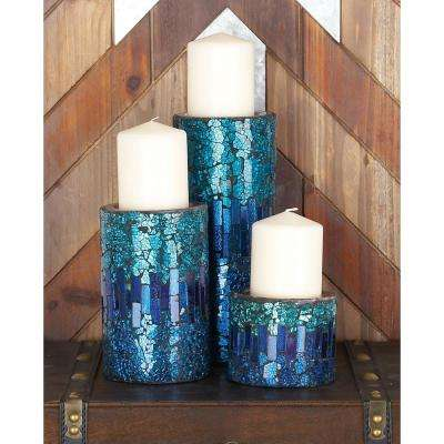 Modern Blue Metal Mosaic Candle Holders (Set of 3)