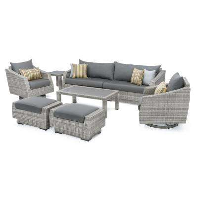Cannes 8-Piece Motion Wicker Patio Deep Seating Conversation Set with Sunbrella Charcoal Grey Cushions