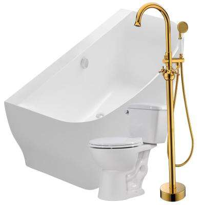 Bank 64.9 in. Acrylic Flatbottom Non-Whirlpool Bathtub with Bridal Faucet and Author 1.28 GPF Toilet