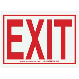 Brady 7 inch x 10 inch Bordered Glow-in-the-Dark Plastic Exit Sign by Brady