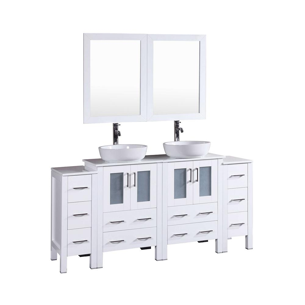 72 in. W Double Bath Vanity in White with Carrara Marble
