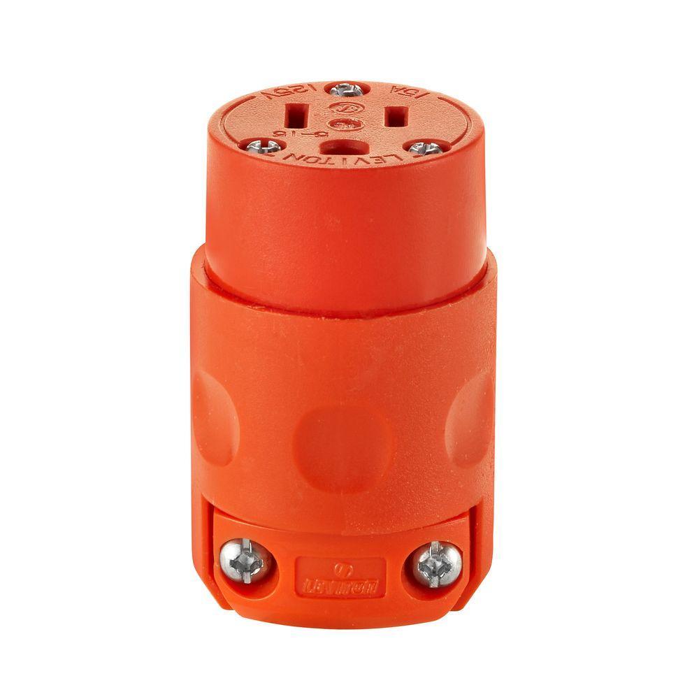 15 Amp 125-Volt 3-Wire Connector, Orange