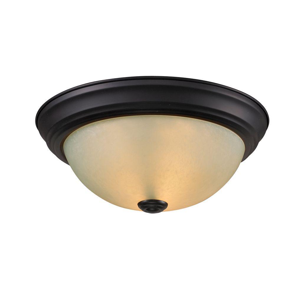 Filament Design Lawrence 2-Light Bronze Incandescent Ceiling Flushmount