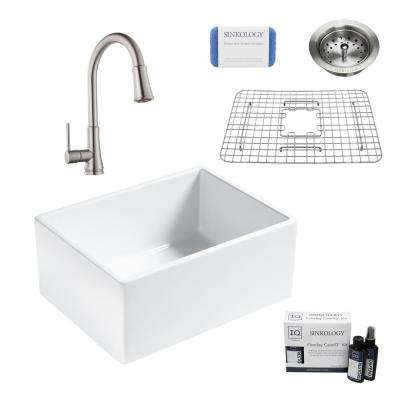 Wilcox II All-in-One Farmhouse Apron Fireclay 24 in. Single Bowl Kitchen Sink with Faucet and Strainer in Stainless