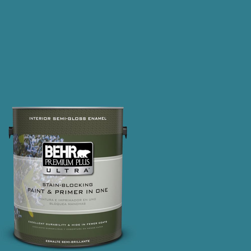 BEHR Premium Plus Ultra Home Decorators Collection 1 gal. #HDC-CL-27 Calypso Blue Semi-Gloss Enamel Interior Paint and Primer in One