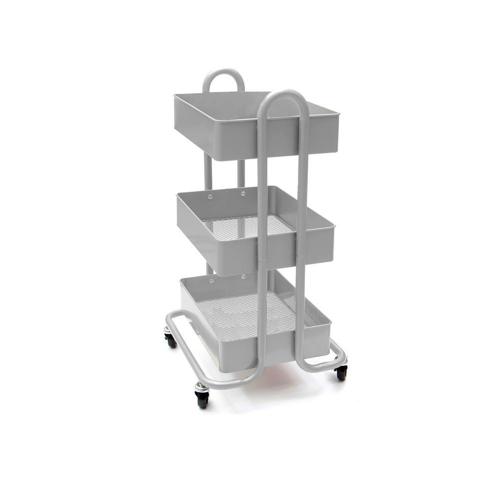 80f853c66ff6 Mind Reader 28 in. x 17.50 in. x 11.50 in. 3-Tier Metal Mobile Utility Cart  in Silver